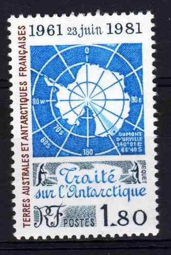 Estampilla De Antartida Francesa Tratado Antartico Mapa 1980