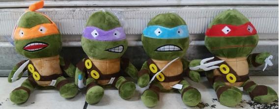 4 Pelúcias Tartarugas Ninjas Musicais + Brinde