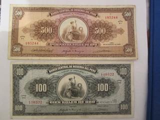 Billetes Antiguos Peruanos De Soles De Oro- Año 1960