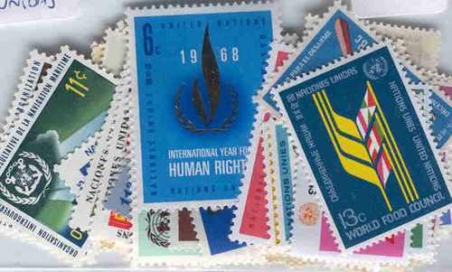 150 Estampillas Diferentes De Naciones Unidas Conmemorativas