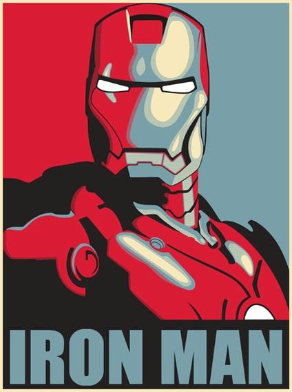 Bastidor De Poster Iron Man Impreso En Tela Canvas 70x93