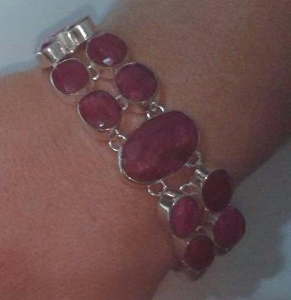 Pulseira Bracelete De Prata 925 Pedra Vermelha Rubi Natural