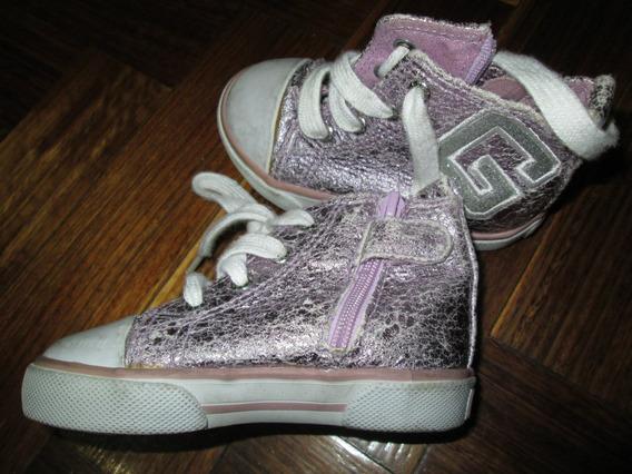 Zapatillas Botitas Guess Talle 21 5 U.s.a Lilas Metalizadas