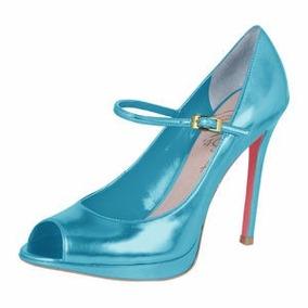 Peep Toe Meia Pata Azul Turquesa. 10cm - 35