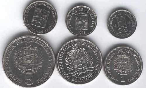 Serie De 6 Monedas De Venezuela Excelentes 1977 A 1990