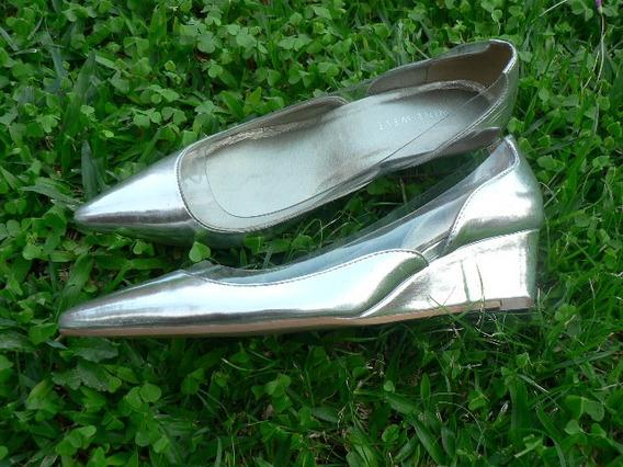 Zapato Charol Plateado Nº 36.5 37 Importado Nine West