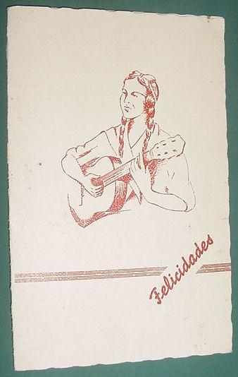 Postal Postcard Antigua Criolla Guitarra Poema Gaucho 1941