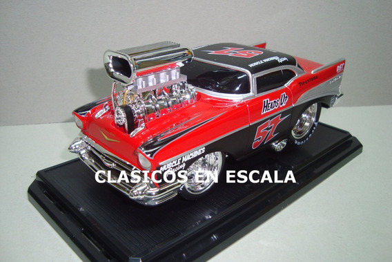Chevy Bel Air 1957 Drag Hot Rod- Maisto Muscle Machines 1/24
