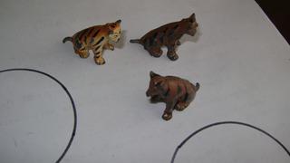 Antiguos Tigrecitos Plomo Hueco Juguete Selva Marron L.13