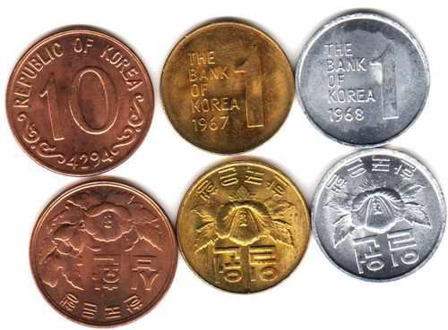 3 Monedas De Corea Del Sur Sin Circular