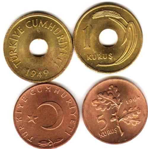 2 Monedas De Turquia Año 1949 Y 1964 Sin Circular!!!!!!!!!!!