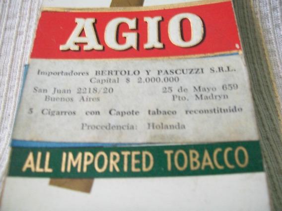 Caja Vacia De Cigarros Agio Holandeses, Muy Bien Conservada
