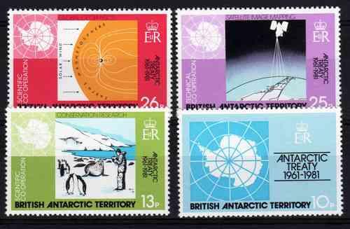 4 Estampillas Antartida Britanica Tratado Antartico Año 1981