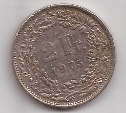 Suiza Moneda De 2 Francos Año 1975 !!!