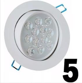 Kit 5 Spot Led 12w Branca Luz Fria Lampada Direcionável