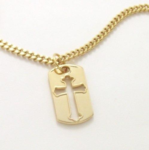 Corrente Masculina Pingente Placa Crucifixo Banho Ouro 18k