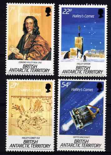 4 Estampillas De Antartida Britanica Del Cometa Halley
