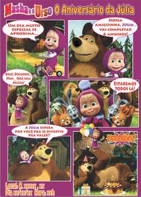 Convite Em Quadrinhos Masha E O Urso