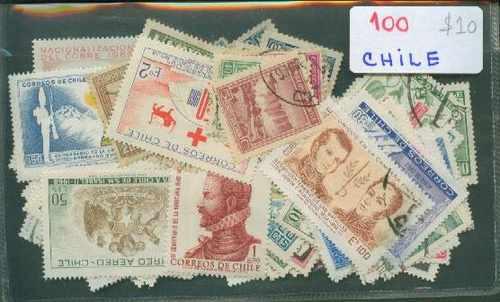 Lote De 100 Estampillas De Chile ¡ Oferta !