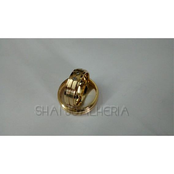 Par De Alianças Em Ouro 18k 7mm Com 3 Diamantes