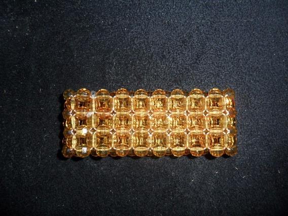 Pulseira Bracelete Em Cristal Acrílico Dourado