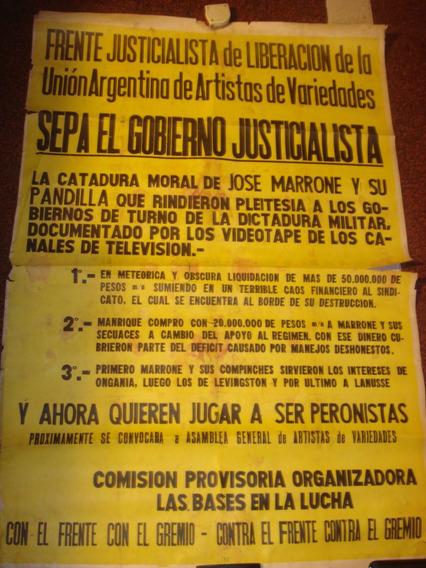 Antiguo Afiche Callejero Frente Justicialista De Liberacion
