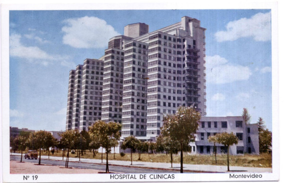 Antigua Tarjeta Postal Hospital Clínicas Montevideo Uruguay