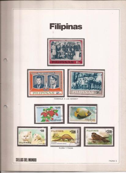 Filipinas Hoja Con 8 Estampillas Diferentes !!!