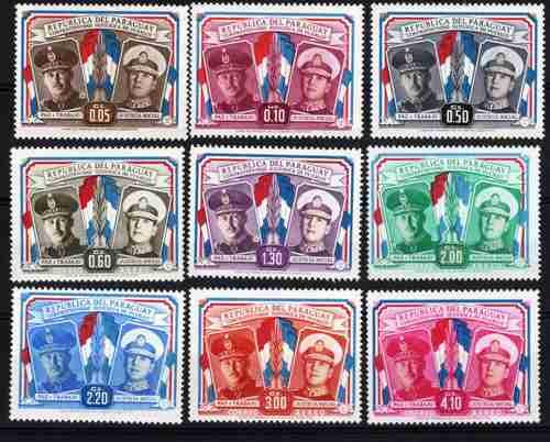 Serie De 9 Estampillas Peron Y Stroessner Año 1955 Paraguay