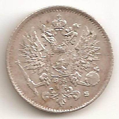 Finlandia, Gran Ducado, 25 Pennia, 1916. Plata. Aunc