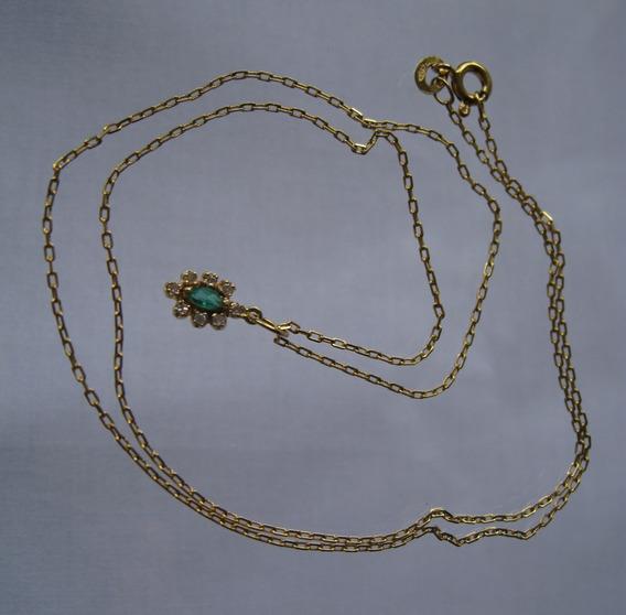 Colar Gargantilha Ouro 18 K (750) Brilhantes Esmeralda - 075