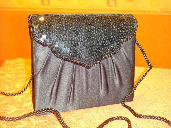 Cartera/sobre Color Negro Con Lentejuelas O.mar2011