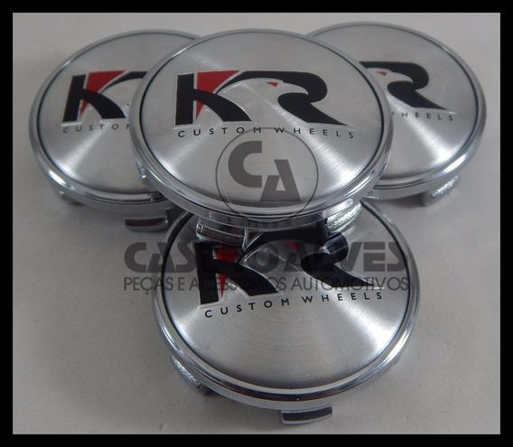 Kit 4 Pçs Calota Cromada Tampa Miolo Centro Roda Krmai Kr
