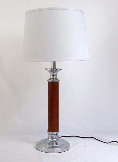 Abajur Luminária Grande Madeira Cromado Cúpula Branca