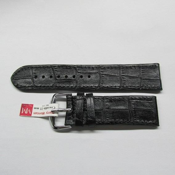 Pulseira Para Relógio, Marry Montan Couro Crocodilo 22mm