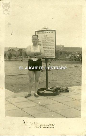 Foto Postal Mar Del Plata 1943 Esso Cartel Publicidad Antigu