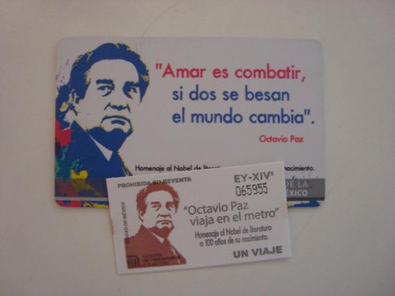Boleto Y Tarjeta Del Metro De Octavio Paz - De Colección
