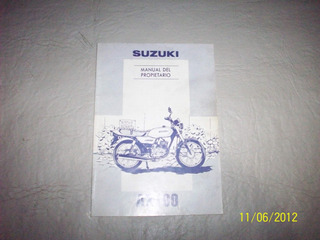 Manual De Uso Y Mantenimiento Original Suzuki Ax 100 1995