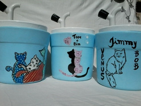 Bebedouro Para Gatos + Comedouro Cor Azul