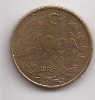 Turquia Moneda De 100 Lira Año 1993 Escasa !!