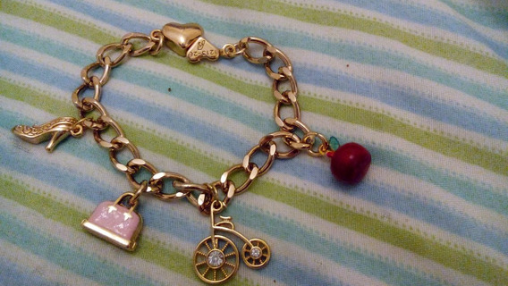 Pulseira Berloques Luxo Folheado Ouro 18k Moda Blogueira