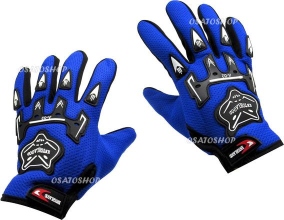 Luva Moto Motoqueiro Motocross Motociclista Bike Pró Azul