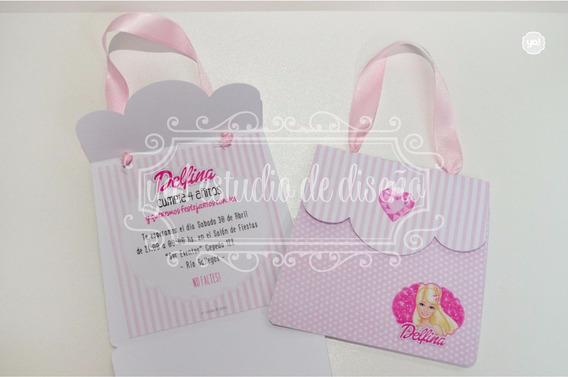 Tarjeta De Invitacion Carterita Barbie Princesas