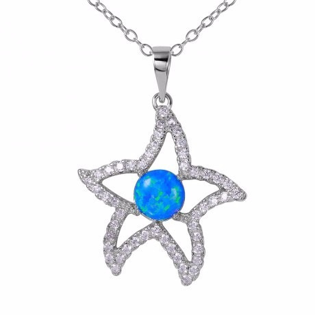 Cz Open Starfish With Synthetic Blue Opal Necklace