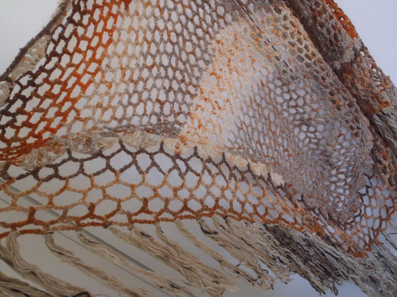 Xale Estola Acessorio Croche Feito Mão Pura Lã Triangular