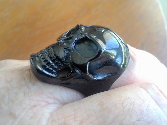 Anel Skull - Aço Inox - Caveira Motoqueiro- Tam. 11/27