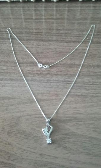 Cordao De Prata Com Pingente De Prata Com Pedras De Zirconia