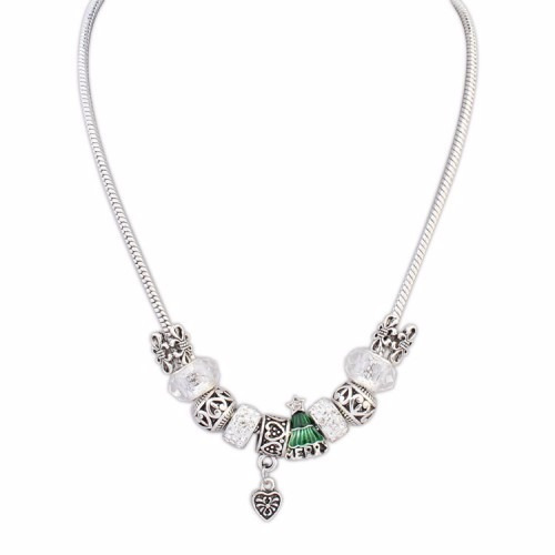 Silver Necklace With Christmas Tree And Crystal Beads