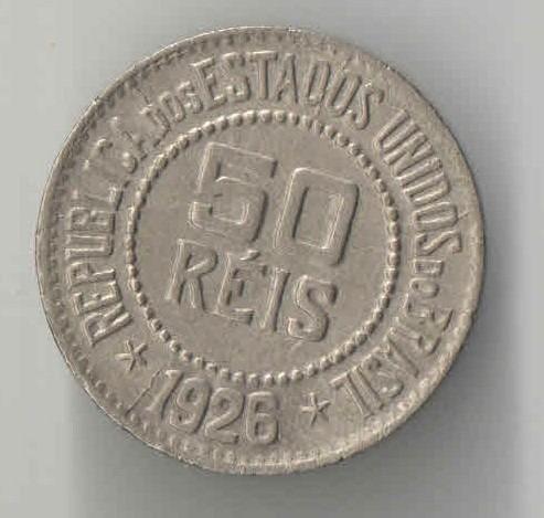50 Reis Ano 1926 Niquel Data Dificil Linda