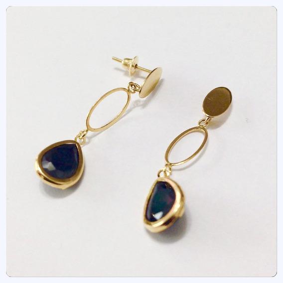 Brincos Longos De 3 Cm De Ouro 18k-750 Pedra Preta Cor Onix